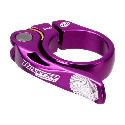 Reverse Long Life Q/R Seatpost Clamp, Purple 34.9mm Diameter