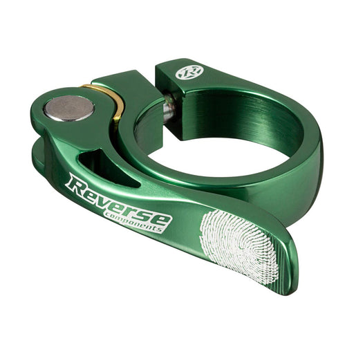 Reverse Long Life Q/R Seatpost Clamp, Dark Green 34.9mm Diameter