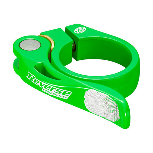 Reverse Long Life Q/R Seatpost Clamp, Neon Green 34.9mm Diameter