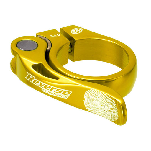 Reverse Long Life Q/R Seatpost Clamp, Gold 34.9mm Diameter