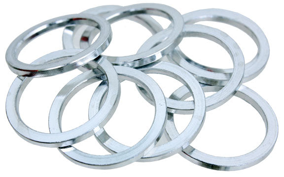 "Vuelta Headset spacer, 1"" x 2.5mm - silver 10/bag"