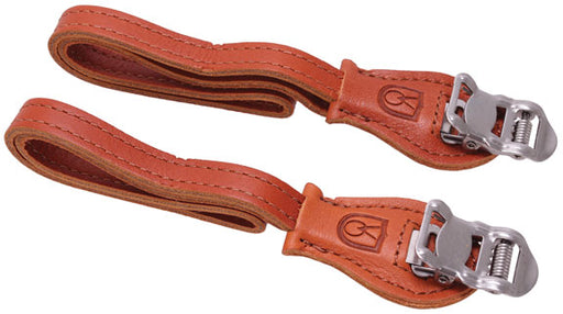 Velo Orange Grand Cru laminated leather toe straps - honey