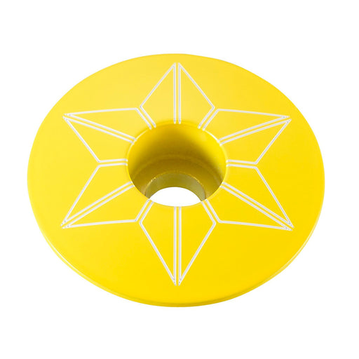 Supacaz Yellow TDF powder coated Star Cap