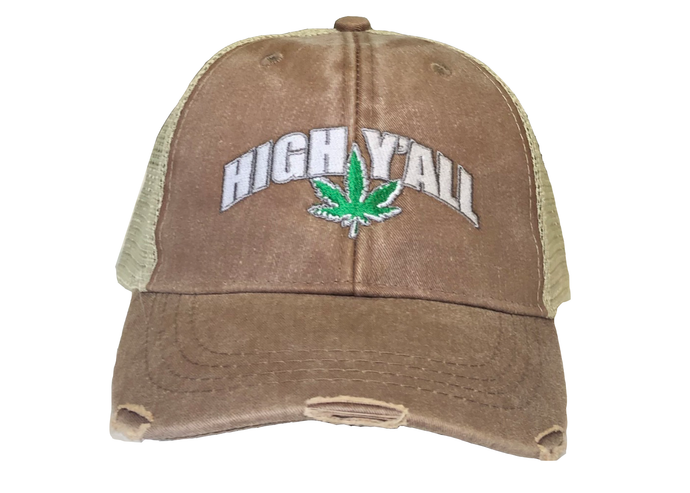 High Y'all Trucker Hat-Brown