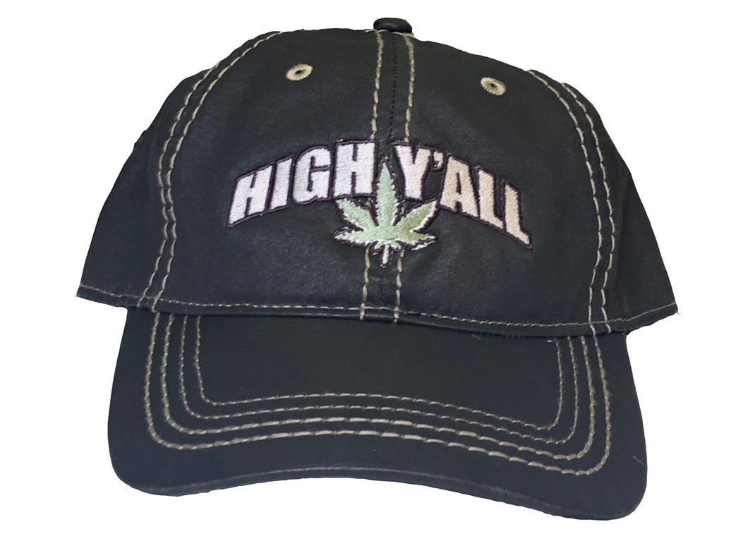 High Y'all Stitched Hat-Black