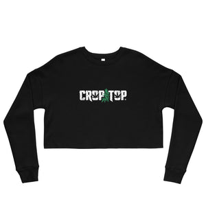 """Crop Top"" White Logo Cropped Sweatshirt"