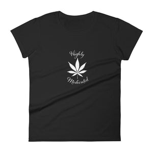 Highly Medicated White Logo Short Sleeve Tee-Shirt
