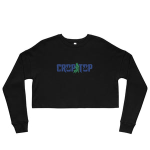 """Crop Top"" Blue Logo Cropped Sweatshirt"
