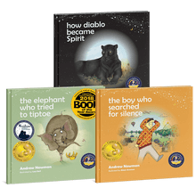 Load image into Gallery viewer, 3-book bundle: The Elephant Who Tried to Tiptoe + The Boy Who Searched for Silence + How Diablo Became Spirit