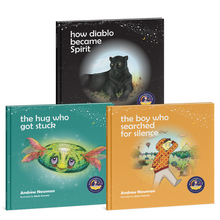 Load image into Gallery viewer, 3-book bundle: The Hug Who Got Stuck + The Boy Who Searched for Silence + How Diablo Became Spirit