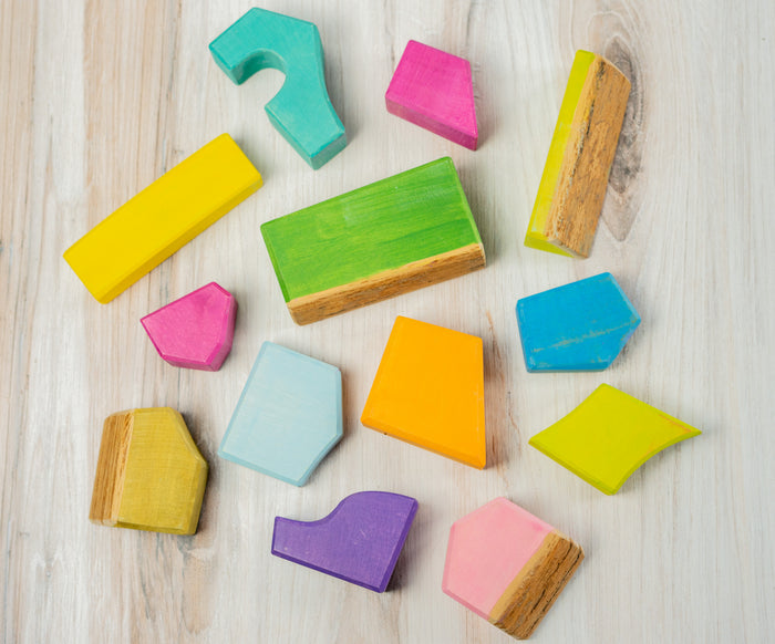 Colorful Wooden blocks tree slices