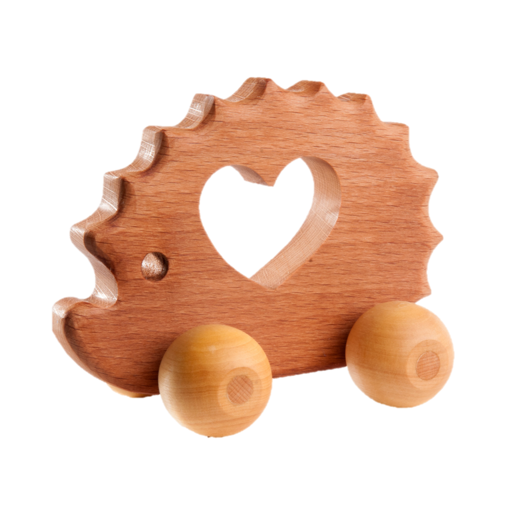 Wooden Handmade Hedgehog Push toy - PoppyBabyCo