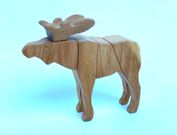 Handmade Wooden Moose Toy