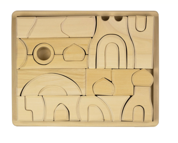 Natural wooden blocks set puzzle