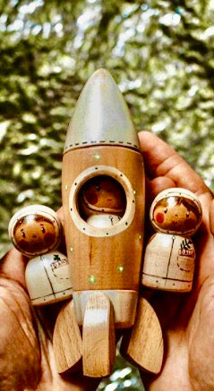 Handmade wooden Rocketship with Astronaut toy
