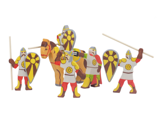 Wooden Medieval Knights and Horse Set