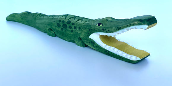 Hand Carved Wooden Alligator Toy