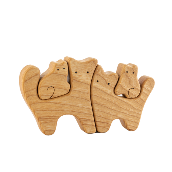 Waldorf Wooden Cats family of 4 puzzle set - PoppyBabyCo