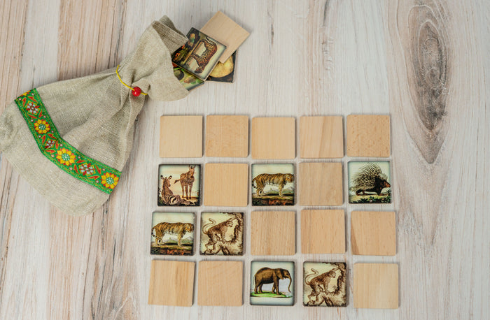 Wooden Memory Matching Game with a Linen Storage Bag, Zoo Animals