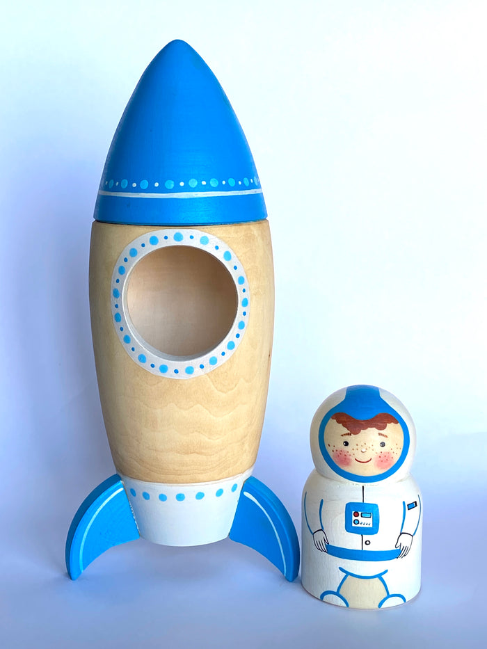 Wooden Toy Rocket with Astronaut