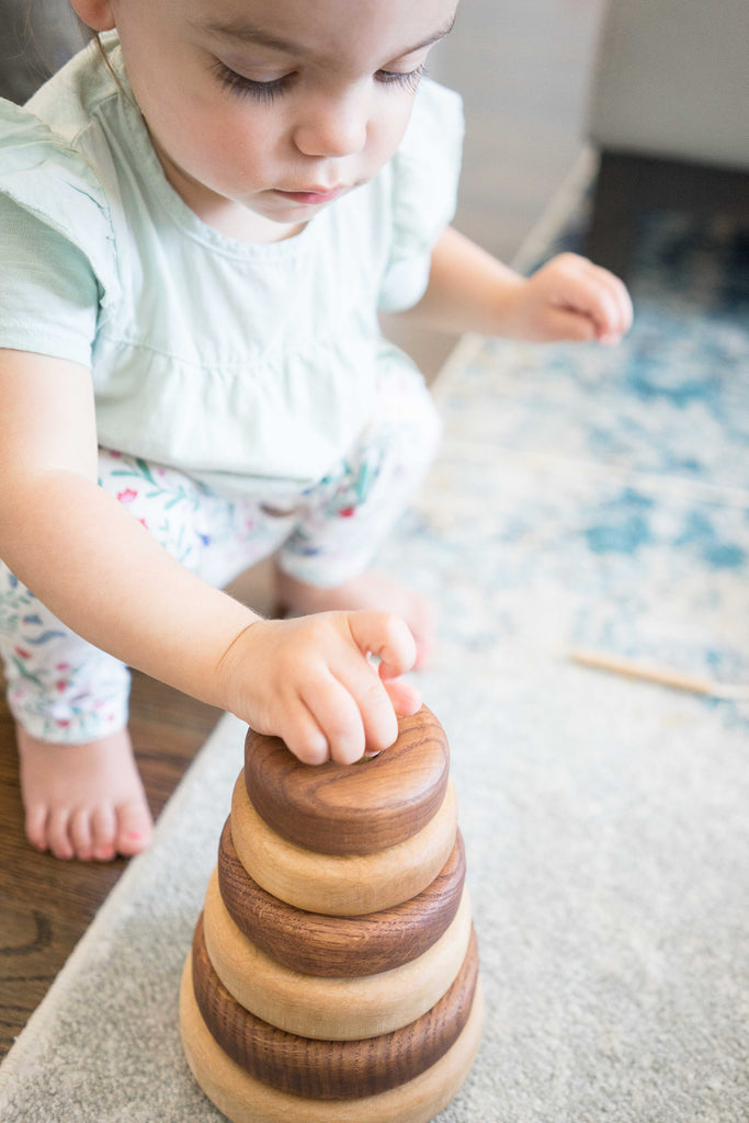 Wooden stacking toy in round shape from 2 types of wood, large - poppybaby