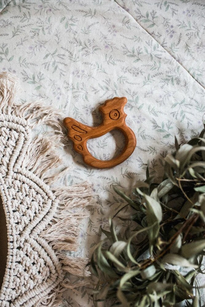 Organic Wooden Teether toy Chicken