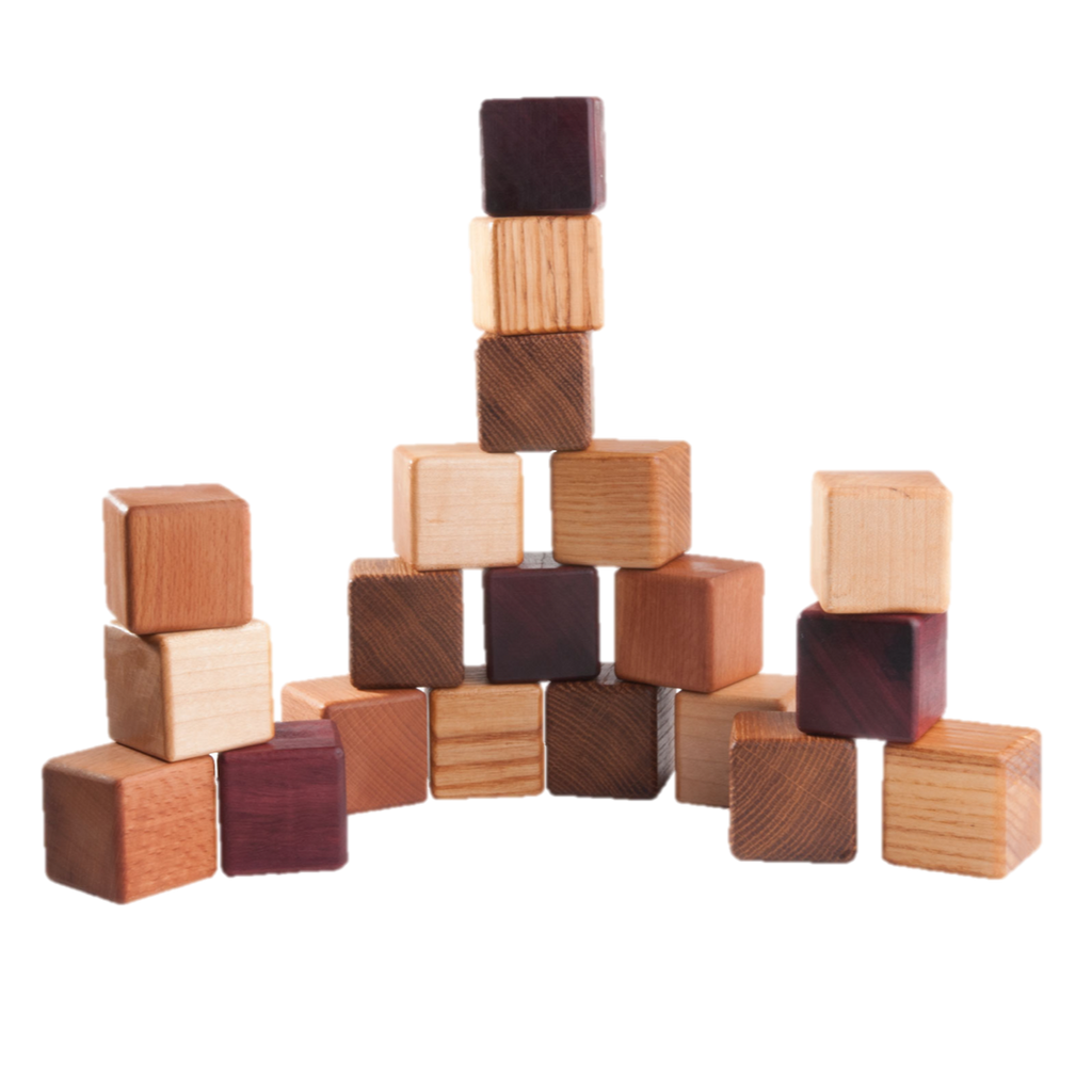 Classic Wooden Blocks for toddlers from 5 types of wood, 20- pieces - poppybaby