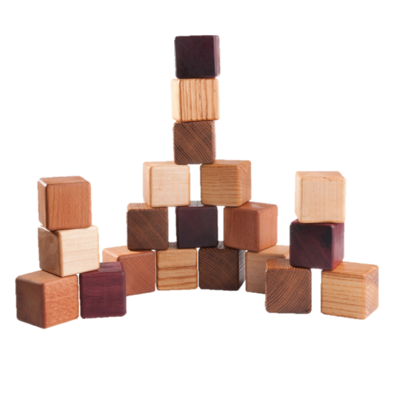 Classic Wooden Blocks for toddlers from 5 types of wood, 20- pieces - PoppyBabyCo