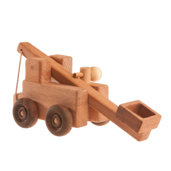 Handcrafted wooden catapult toy truck - PoppyBabyCo