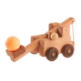 Handcrafted wooden catapult toy truck - poppybaby