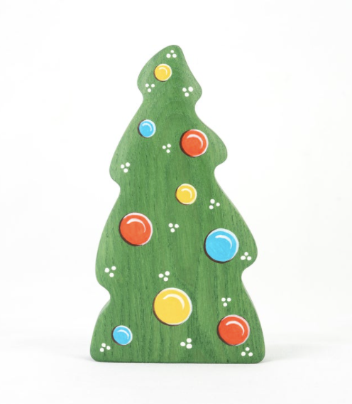 Wooden Christmas tree toy with ornaments