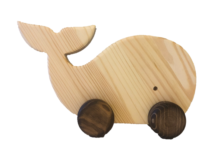 Wooden Whale Pull Along Toy - PoppyBabyCo