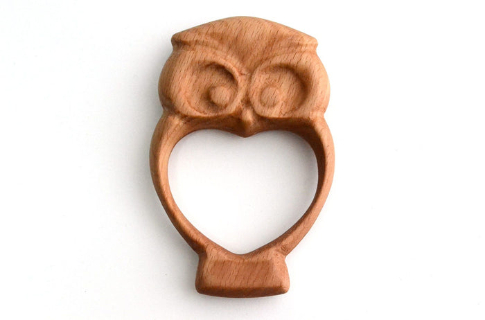 Organic Wooden Rattle-Teether Owl