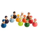 Montessori Color Sorting Wooden Toy Peg Dolls in Wooden Pots - Set of 12 - PoppyBabyCo