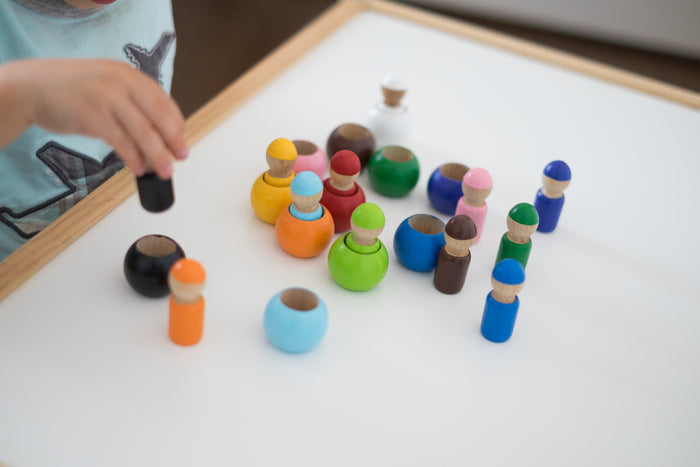 Montessori Color Sorting Wooden Toy Peg Dolls in Wooden Pots - Set of 12