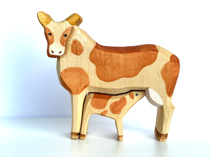 Wooden Cow Toy with Baby Cow