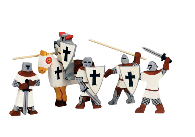 Wooden Crusaders Knights set with Horse