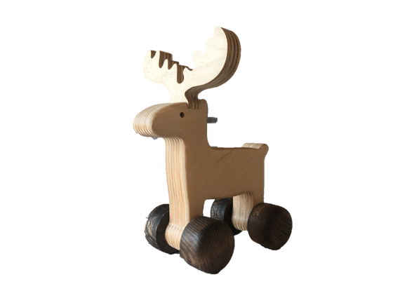 Wooden Moose Push Along Toy - PoppyBabyCo