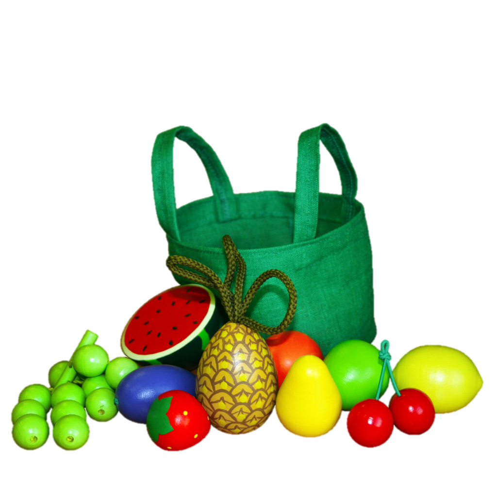 Wooden Fruit Toys in a cloth Tote - PoppyBabyCo