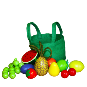 Wooden Fruit Toys in a cloth Tote - poppybaby