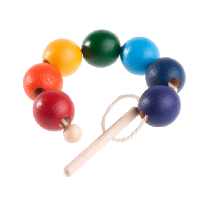 Rainbow Wooden Beads Lacing toy - PoppyBabyCo