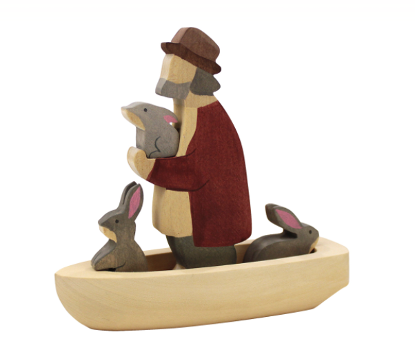 Wooden Boat Set with Grandpa and bunnies figurines