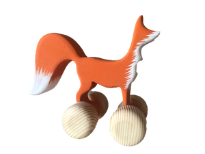 Wooden Fox Push Along Toy - poppybaby