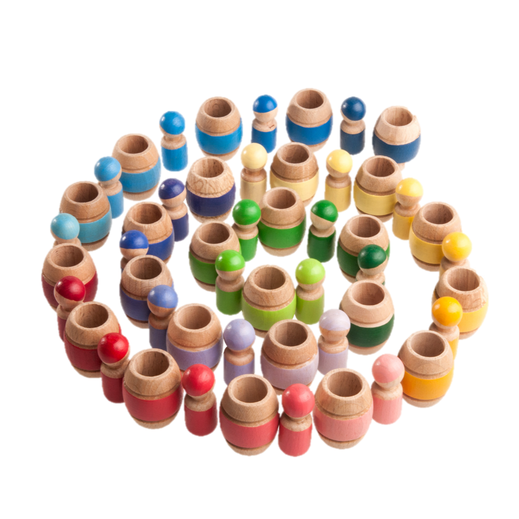 Montessori Color Sorting Wooden Toy Peg Dolls in Barrels - Set of 25 - PoppyBabyCo