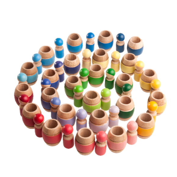 Montessori Color Sorting Wooden Toy Peg Dolls in Barrels - Set of 25 - poppybaby