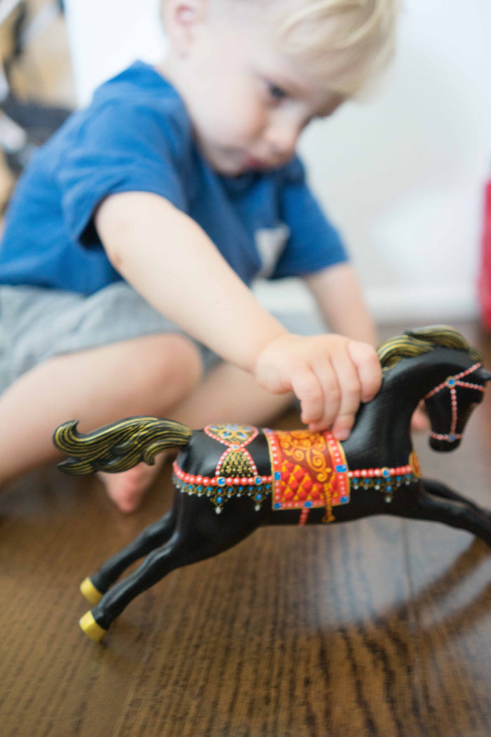 Wooden Rocking toy Horse hand-painted - PoppyBabyCo