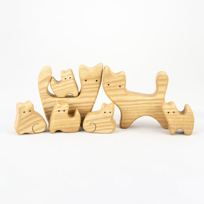 Waldorf Wooden Cats family of 7 puzzle set - PoppyBabyCo