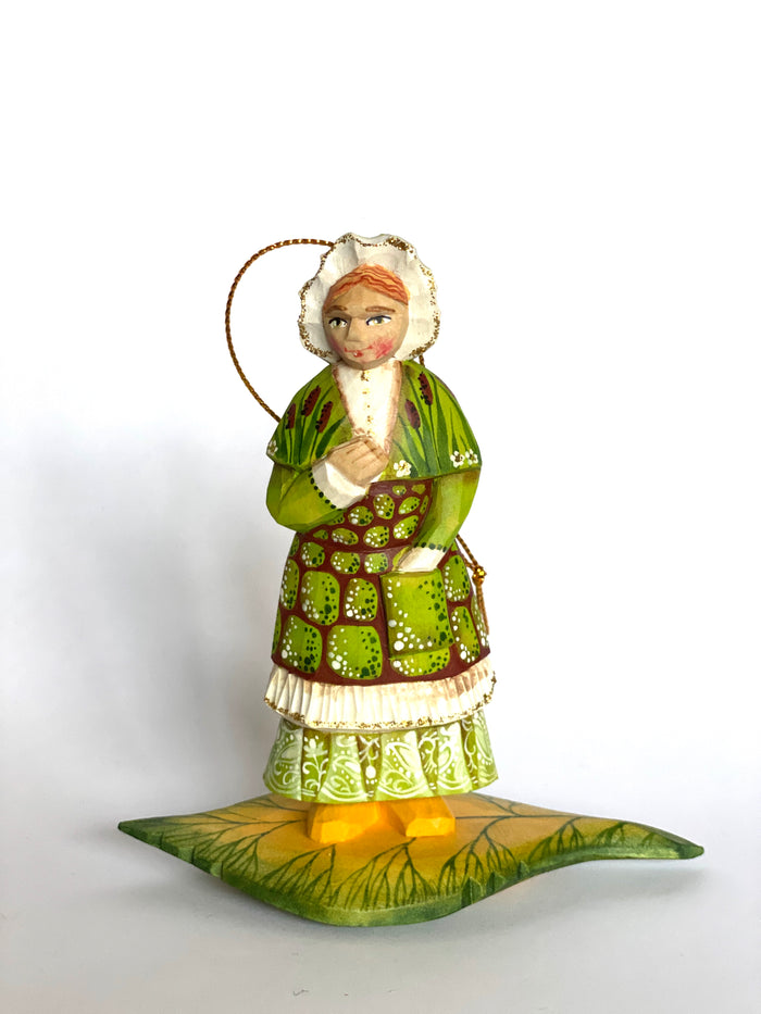 Hand carved Wooden Christmas Ornament Forest Lady