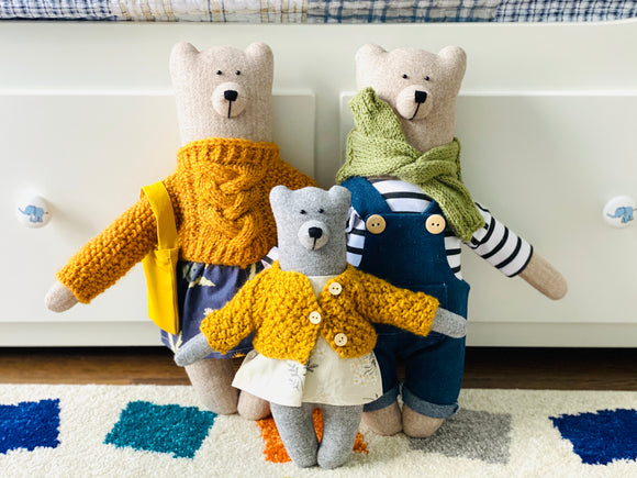 Handmade Stuffed Cloth Mom/Dad Bear - Dressed