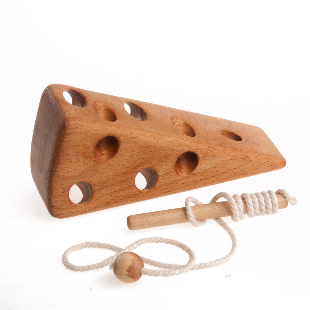 Wooden cheese lacing toy - PoppyBabyCo
